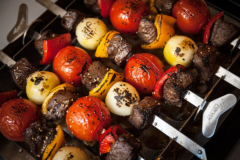 Not only is the Fervor Roasting Rack stylish, but because of the flat skewers, your food doesn't turn on them when they're flipped. Not only that, the grooves in the rack allow for stability seldom seen when making kebabs or brochettes.